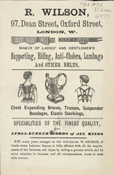 Advert for R Wilson's supporting belts & chest expanding braces